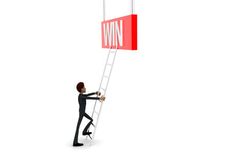 reach: 3d man climb ladder to reach  WIN text concept on white background - 3d rendering, side angle view