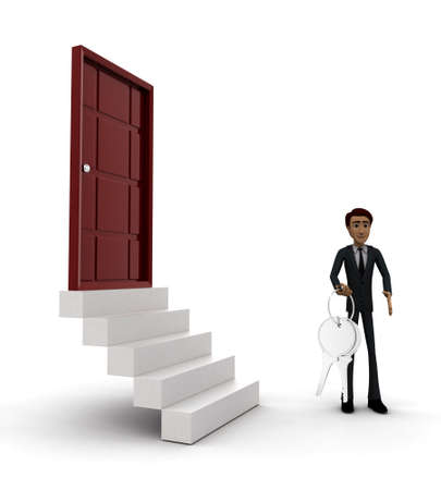 side keys: 3d man standing outside door holding keys concept on white background - 3d rendering , side angle view
