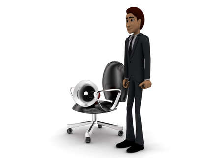 mega phone: 3d man presenting megaphone with moving chair concept on white background - 3d rendering, side angle view