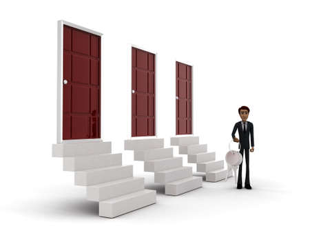 side keys: 3d man standing outside three doors with keys concept on white background - 3d rendering ,  side angle view