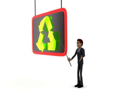 point of view: 3d man holding  stick in hand and point at presentation board with stick at recycle symbol concept on white background - 3d rendering, side angle view Stock Photo