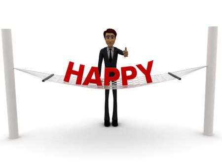 guy standing: 3d man standing waving hand and HAPPY text on weaver concept on white background - 3d rendering ,  front angle view
