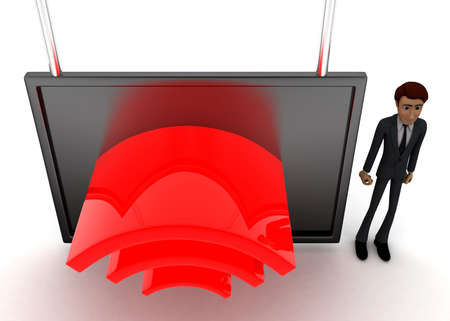 screening: 3d man standing near a  screen and wireless like logo displaying on it concept on white background - 3d rendering, top angle view