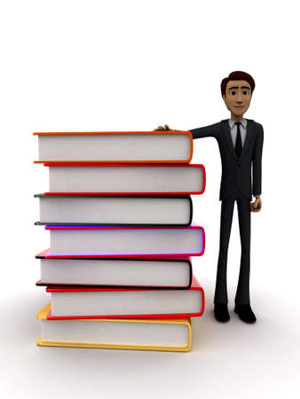 guy standing: 3d man standing with many books concept on white background - 3d rendering , front angle view