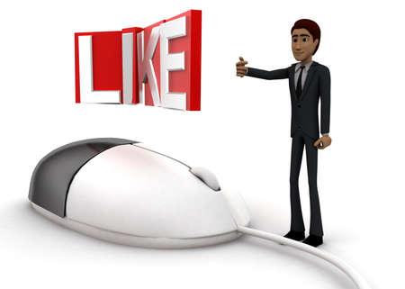 wired: 3d man with computer wired mouse and LIKE text on wire concept on white background - 3d rendering, side angle view