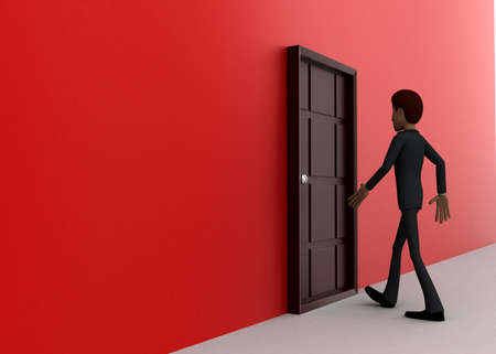 towards: 3d man walking towards door  concept on white background - 3d rendering, side angle view