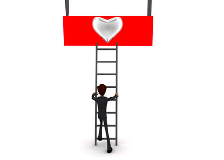 reach: 3d man climb ladder to reach silver HEART symbol concept on white background - 3d rendering, front angle view Stock Photo