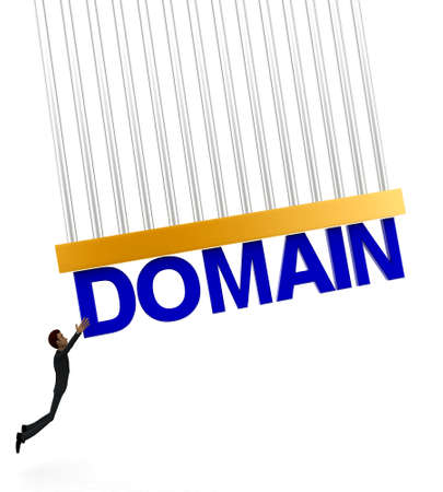 grab: 3d man about to grab DOMAIN text concept on white background - 3d rendering , front angle view Stock Photo