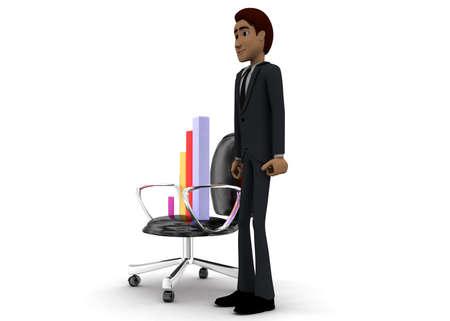 angle bar: 3d man present bar graph on moving chair concept on white background - 3d rendering, side angle view