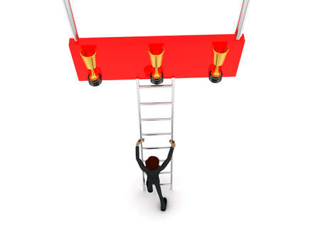reach: 3d man climb ladder to reach at golden award cup concept on white background - 3d rendering, top angle view
