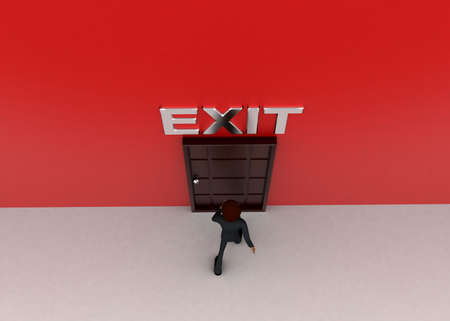 towards: 3d man walking towards door and EXIT written on top of it concept on white background - 3d rendering, top angle view Stock Photo
