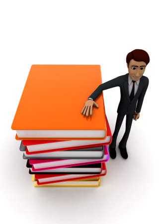 guy standing: 3d man standing with many books concept on white background - 3d rendering , top angle view Stock Photo