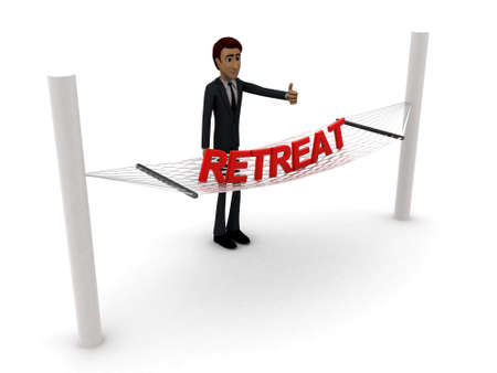 retreat: 3d man standing waving hand and RETREAT text on weaver concept on white background - 3d rendering , side angle view