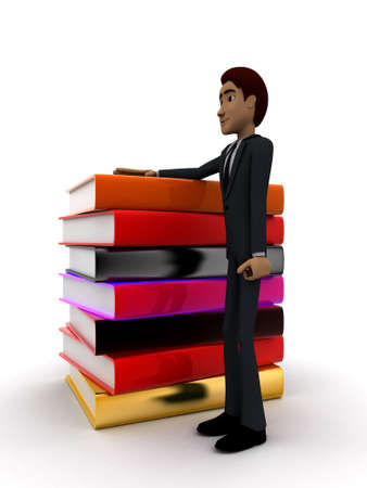 guy standing: 3d man standing with many books concept on white background - 3d rendering , side angle view