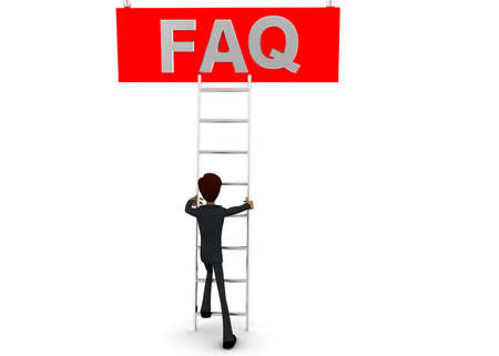 front angle: 3d man climb ladder to reach FAQ  concept on white background - 3d rendering, front angle view
