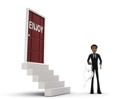 side keys: 3d man standing outside enjoy  door holding keys concept on white background - 3d rendering , side angle view