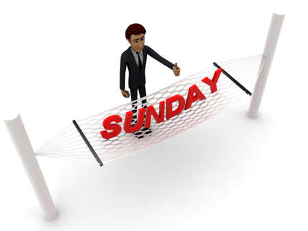guy standing: 3d man standing waving hand and SUNDAY text on weaver concept on white background - 3d rendering , top angle view Stock Photo