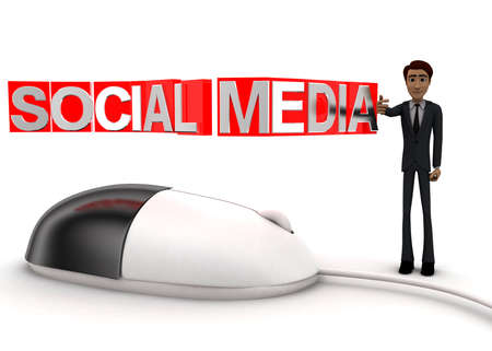 wired: 3d man with computer wired mouse and SOCIAL MEDIA text on wire concept on white background - 3d rendering, front angle view