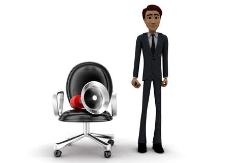 mega phone: 3d man presenting megaphone with moving chair concept on white background - 3d rendering, front angle view