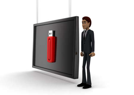 pen drive: 3d man standing near a  screen and a pen drive displaying on it concept on white background - 3d rendering, side angle view Stock Photo