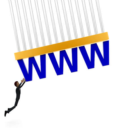 grab: 3d man about to grab WWW text concept on white background - 3d rendering , front angle view Stock Photo
