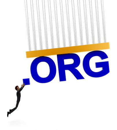 org: 3d man about to grab .ORG text concept on white background - 3d rendering , front angle view Stock Photo