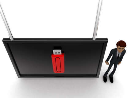 pen drive: 3d man standing near a  screen and a pen drive displaying on it concept on white background - 3d rendering, top angle view