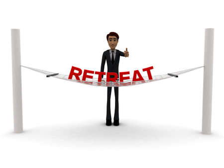 retreat: 3d man standing waving hand and RETREAT text on weaver concept on white background - 3d rendering , front angle view Stock Photo
