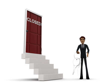 side keys: 3d man standing outside closed door holding keys concept on white background - 3d rendering , side angle view