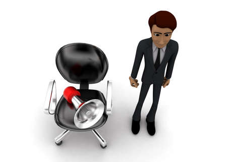 mega phone: 3d man presenting megaphone with moving chair concept on white background - 3d rendering, top angle view