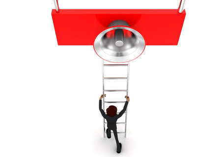 reach: 3d man climb ladder to reach loud speaker concept on white background - 3d rendering, top angle view