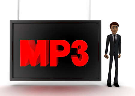 wrote: 3d man standing near a  screen and mp3 text displaying on it concept on white background - 3d rendering, front angle view