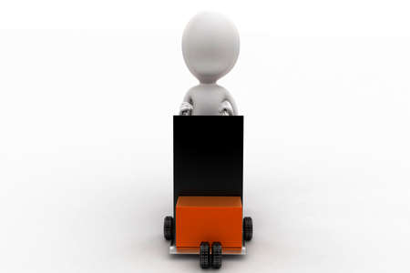 man pushing: 3d man pushing a trolly with cargo in it concept in white isolated background - 3d rendering , front angle view