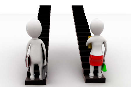 stepping: 3d woman and man stepping into staircase concept in white isolated background - 3d rendering , back angle view