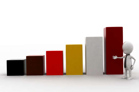 statics: 3d man presentating bar graph concept in white isolated background - 3d rendering , front angle view Stock Photo