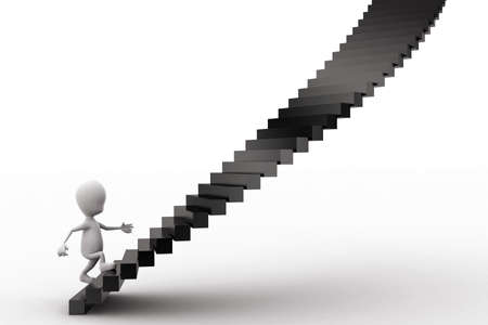 stepping: 3d man stepping into stairs concept in white isolated background - 3d rendering , front angle view