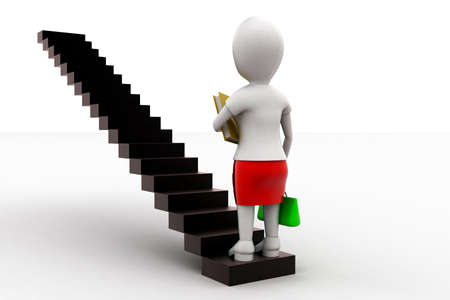 into: 3d woman holding shopping bag and a book and stepping into staircase concept in white isolated background - 3d rendering , back angle view