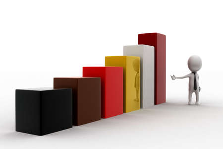 statics: 3d man presentating bar graph concept in white isolated background - 3d rendering , side angle view Stock Photo
