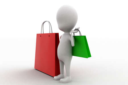 another: 3d man holding a shopping bag and presenting another shopping bag concept in white isolated background - 3d rendering , side angle view Stock Photo