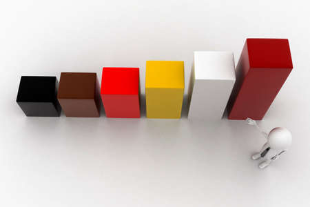 statics: 3d man presentating bar graph concept in white isolated background - 3d rendering , top angle view