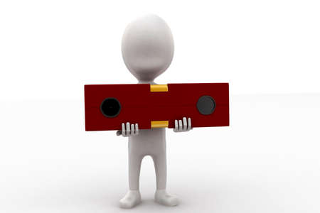 checking: 3d man hoding a level checking scale concept in white isolated background - 3d rendering , front angle view