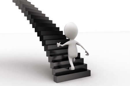 stepping on: 3d man stepping into stairs concept in white isolated background - 3d rendering , back angle view