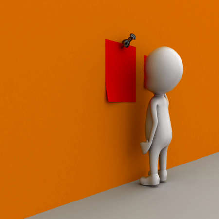 pinning: 3d man pinning papers on wall concept  , side  angle view