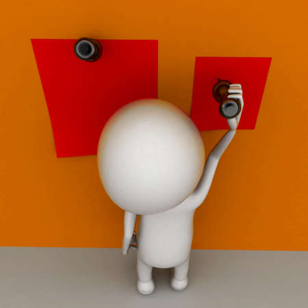 pinning: 3d man pinning papers on wall concept  , top angle view