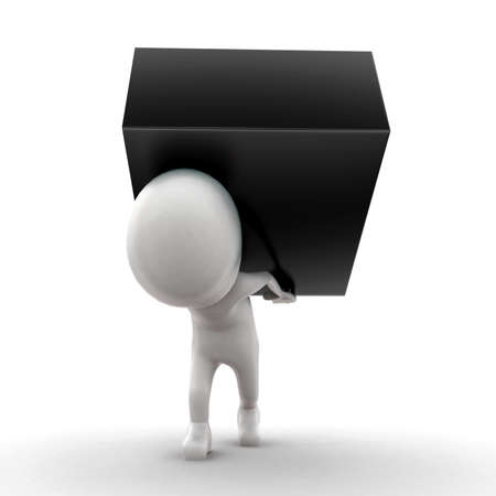 man carrying: 3d man carrying a black box beside concept  in white isolated background - 3d rendering ,  front angle view
