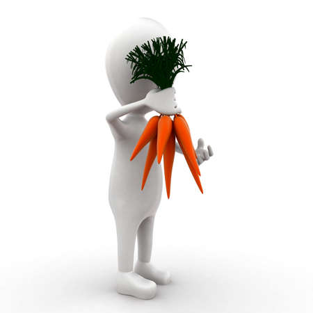 carrots isolated: 3d man holding carrots in hands concept in white isolated background - 3d rendering ,  side  angle view