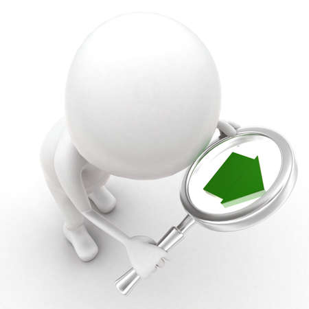 projected: 3d man looking through magnifier and a home icon is projected on magnifier concept in white isolated background - 3d rendering ,  top  angle view Stock Photo