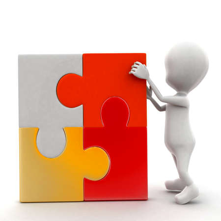 arranging: 3d man arranging puzzle all togheter concept in white isolated background - 3d rendering ,  front angle view