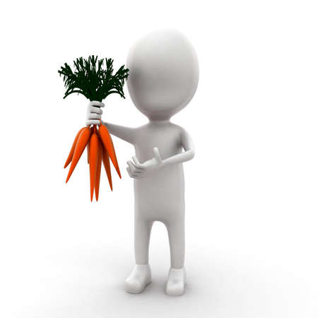 carrots isolated: 3d man holding carrots in hands concept in white isolated background - 3d rendering ,  front angle view