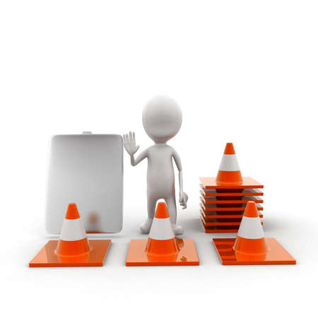 display board: 3d man shaking hands in area sorrounded by traffic  cones and a display board conceptin white isolated background - 3d rendering ,  front angle view